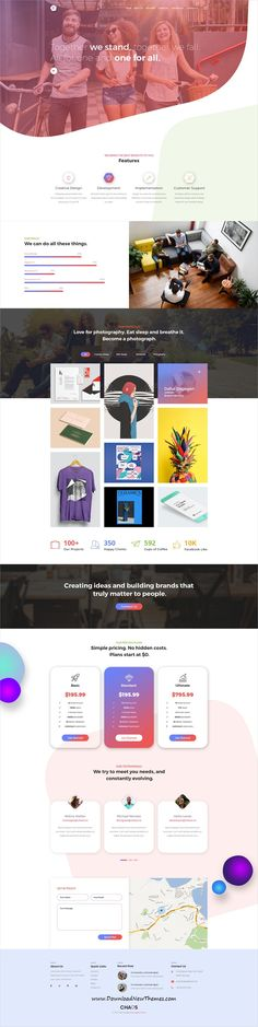 Chaos is clean and modern design PSD #templates for onepage creative agency landing page website with 4 homepage #layouts and 13 layered PSD pages to live preview & download click on Visit  #psdmockups