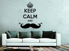 Wall Decals Quote Keep Calm And Mustache Decal Caron Vinyl Sticker Bedroom Nursery Home Decor Barber Shop Decor Art Hipster Salon Ms562