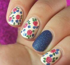 Get inspirations from these cool stylish nail designs for short nails. Find out which nail art designs work on short nails! Flower Nail Designs, Flower Nail Art, Nail Designs Spring, Cute Nail Designs, Art Flowers, Pretty Designs, Fabulous Nails, Gorgeous Nails, Pretty Nails