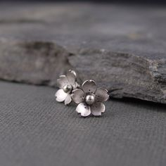 Cherry Blossom Earrings - Sterling silver Sakura Post earrings, Spring Jewelry, Gifts for her, Gifts under 35.00,. $35.00, via Etsy.