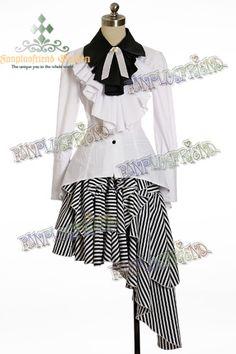 +Gothic Lolita+ Industrial Ruffle & Ribbon Jabot Corset Coattail Blouse
