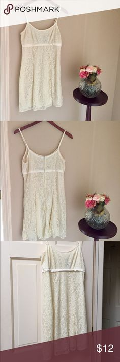 All That Jazz cream lace dress Cream colored lace dress by All That Jazz. Juniors size 9/10. Fully lined. Very small slight makeup stain on trim as depicted in photo. May come out with dry cleaning. All That Jazz Dresses Mini