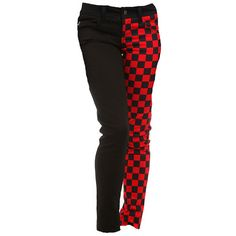 ROYAL BONES BY TRIPP BLACK & RED CHECKERED SPLIT LEG SKINNY JEANS -... ❤ liked on Polyvore featuring jeans