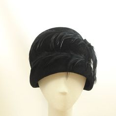 New 1920s Style Black Fur Felt Beehive Cloche Hat with Feathers.  Innocently sexy.