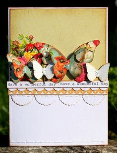 beautiful card. line up the butterflies punched from all kinds of scrap paper- blog removed. picture gives good idea. love this!!!