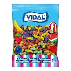 El surtido Frutitas Jelly Vidal es un surtido de golosinas de brillo de tamaño mini con intenso sabor a frutar surtidas. ¡Frutitas tropicales para el verano! Jelly, Cereal, Gluten, Box, Mini, Tropical Fruits, Syrup, Goodies, Sparkle