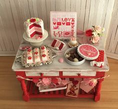 RESERVED FOR LISA - Miniature Valentine Baking Table With Cake, Candy, Petit Fours, Roses, Polka Dot Teapot, Valentine Subway Art, And More