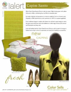 The Color Marketing Group's June Color Alert: Capim Santo. Very similar to our Brio pattern in Matcha!   #colortrend #interiordesign