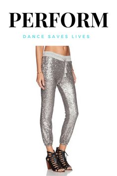 Sequined drawstring hip hop dance pants.