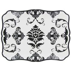 This elegant black-and-white damask platter can be used as a centerpiece, for display or for serving food items.