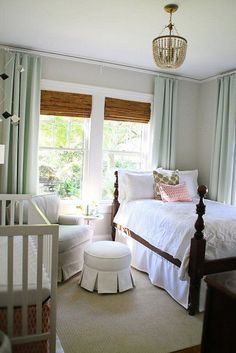 White trim. Bamboo blinds. Solid curtains. Muted colors.