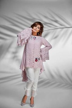 Color: LilacLace peplum style top with flowers and silver motif. Latest Pakistani Fashion, Pakistani Outfits, Indian Outfits, Indian Fashion, High Fashion, Stylish Dresses, Simple Dresses, Casual Dresses, Fall Fashion Outfits