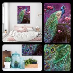 Peacock painting on canvas. Make your home bright!