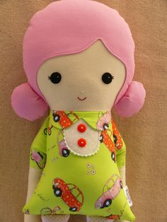 Fabric Doll Rag Doll Girl with Pink Hair and Lime by rovingovine