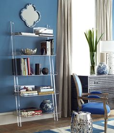 Wisteria - Furniture - Shop by Category - Cabinets & Bookcases - Acrylic Leaning Bookshelf White Ladder Bookshelf, Leaning Bookshelf, Leaning Shelf, Leaning Ladder, Bookshelf Design, Bookshelves, Acrylic Bookcase, Modern Shelving, Dining Room Sets