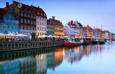 Streetfront on the water. What a colourful expression of urban living! Copenhagen, Denmark.