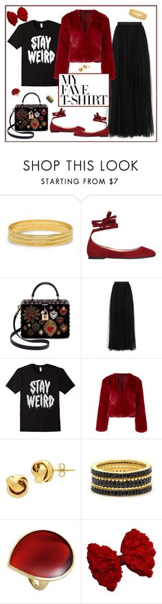 """""""Stay Weird"""" by pheonix-dt ❤ liked on Polyvore featuring SteelTime, Gianvito Rossi, Dolce&Gabbana, Needle & Thread, Somedays Lovin, Lord & Taylor, Freida Rothman, Ippolita and MyFaveTshirt"""
