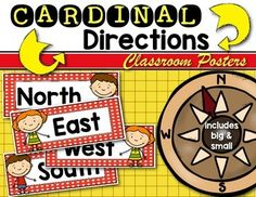Free Cardinal Directions Posters (both mini and full size included.) Perfect to hang in the classroom for mapping lessons and to use as a reference with Kindergarten and First Grade!