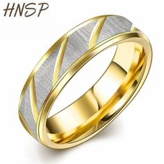 HNSP New Fashion Gold color Titanium Steel Ring For Men Casual Male ring Jewelry Anel R099 #Affiliate