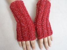 Knitted Gloves Fingirless Mittens women by BloomedFlower on Etsy, $24.00