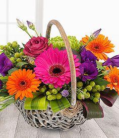 cerise orange purple lime vibrant flower basket