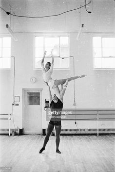British ballerina Margot Fonteyn (1919 - 1991) rehearsing with her new partney David Wall, principal dancer with the Royal Ballet Touring Company.