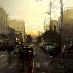 """rhubarbes: """" """"Last Light in the Mission"""" Oil on Panel 12 x 12 inches 2015 by Jeremy Mann More art here. """""""
