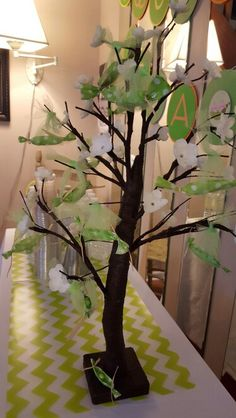 Peas in a pod tree for centerpiece..great for twin baby shower. Used tissue to make the pea pods and places two green sixlet candies in the pod. Secured them to the tree with tulle.