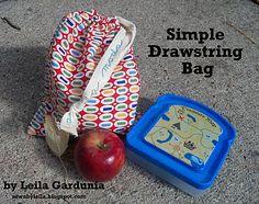 Simple Drawstring Bag (fat quarter) ; good for friendship bracelet kit - operation Christmas Child