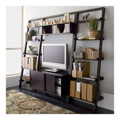 """Sloane Espresso 44"""" Leaning Media Stand with 2 25.5"""" Bookcases ($500-5000) - Svpply"""