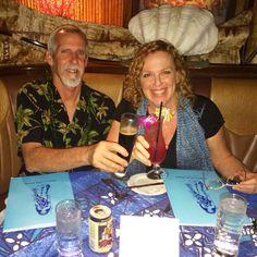 Author Toby Neal and husband, photographer Mike Neal, enjoy dinner at Mamas Fish House, Kuau, Maui, Hawaii