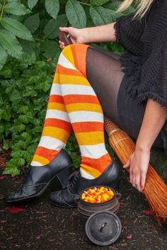 You either love candy corn or you can't stand it. Either way, we're pretty sure you'll think these striped knee socks are a Treat! Thigh High Socks, Knee Socks, Boot Socks, Black & White Quotes, Quirky Fashion, Striped Socks, Great Legs, Derby Shoes, Dressed To Kill