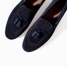 ZARA  - SUEDE MOCCASIN WITH TASSELS