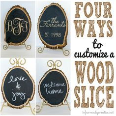 DIY Home Decor | Wall Art | Check out these four ways to customize a chalkboard wood slice - glitter, monogram, chalk art... Oh the possibilities!