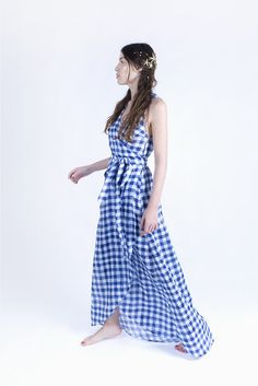 Summer cotton maxi dress.  Ethically made in London.  Blue gingham wrap maxi dress.  Eco fashion, ethical fashion, fair trade clothing, made in UK.  Mermaids collection by Etrala London.