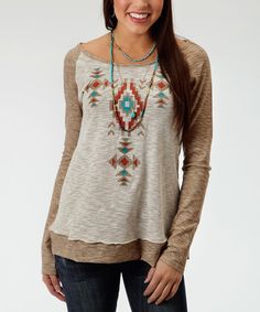 Look at this Roper Brown Geometric Long-Sleeve Top on #zulily today!