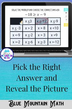 Are you looking for an interactive and self-correcting resource to practice one step inequalities with your students? There are 2 different pictures with 16 problems for each picture on solving inequalities. Students start with the picture totally covered by the answer boxes. As they answer each question correctly, more and more of the covered picture is revealed.