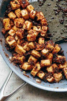 Crispy Tofu to go with Chili Sesame Zoodles. Vegan / Vegetarian | pinchofyum.com