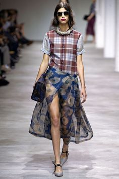 Plaid and sheer floral. Yes. Dries Van Noten Spring 2013
