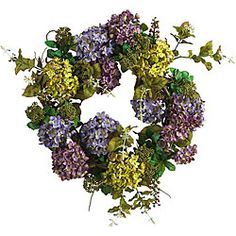 @Overstock.com - Mixed Silk Hydrangea Wreath - Liven up your home with a lovely multi-hued hydrangea wreathDecorative accessory showcases a creamy mix of vibrant buds and bloomsSilk floral wreath features soft-colored pom-pom style flowers surrounded by rich foliage  http://www.overstock.com/Home-Garden/Mixed-Silk-Hydrangea-Wreath/3703516/product.html?CID=214117 $51.87