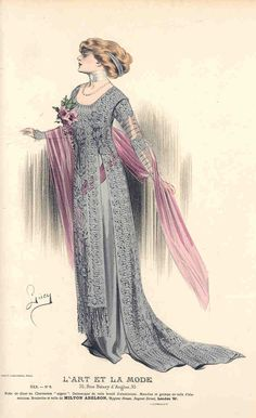 1900s Fashion, Edwardian Fashion, Vintage Fashion, Vintage Style, Fashion Illustration Vintage, Fashion Illustrations, Art Nouveau, Evolution Of Fashion, Period Outfit