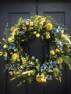 Spring Wreath Blue Yellow Door Wreath Spring Mothers Day Gift Housewarming New Home Birthday Spring Gift Ideas Spring Door Decor Blue Yellow Yellow Doors, Spring Door Wreaths, Mother Day Gifts, Grapevine Wreath, Grape Vines, Blue Yellow, House Warming, Greenery, Floral Wreath