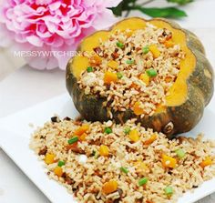 Brown Rice With Pumpkin & Mushroom. The overflowing rice signify abundance an auspicious Chinese New Year dish. Pumpkin as gold nuggets! Rice Recipes, Asian Recipes, Ethnic Recipes, Chinese New Year Dishes, Chinese Food, Korean Food, Tasty Dishes, Food Dishes, Rice Congee