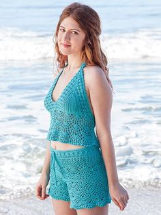 Make a splash in this playful crochet swimsuit from Annie's Signature Designs. Change the look by paring the top with a favorite pair of jeans for a night out o