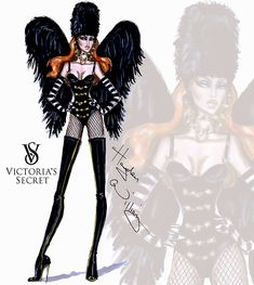 #Hayden Williams Fashion Illustrations #Victoria's Secret 2014 collection by Hayden Williams 'Dark Angel'