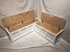 Corner Banquette Bench w/ Top-opening Storage (Painted) Kitchen Nook Bench, Banquette Seating In Kitchen, Built In Dining Room Seating, Kitchen Booths, Kitchen Banquet Seating, Coin Banquette, Bench Set, Diy Bench Seat, Built In Bench
