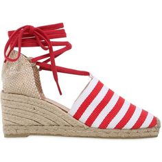 Castañer Women 60mm Striped Canvas Lace Up Espadrilles ($190) ❤ liked on Polyvore featuring shoes, sandals, espadrille sandals, striped espadrilles, lace up espadrilles, platform shoes and platform espadrilles