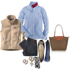 classic fall pieces... wonder if I can find my denim dress shoes... and need to find me a fleece vest