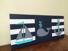 nautical nursery decor baby boy girl nautical room decor sailboat nursery whale decor whale nursery nautical theme gray and navy nautical by JessieAnnCreations on Etsy https://www.etsy.com/listing/270273414/nautical-nursery-decor-baby-boy-girl