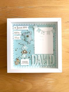 Stampin Up cadre photo bébé - Abgestempelt Ideen zum Basteln mit Stampin' Up! und Stampin' Up! Shadow Box Baby, Baby Picture Frames, Baby Frame, Stampin Up, Scrapbook Bebe, Diy Bebe, Frame Crafts, Baby Crafts, Box Frames